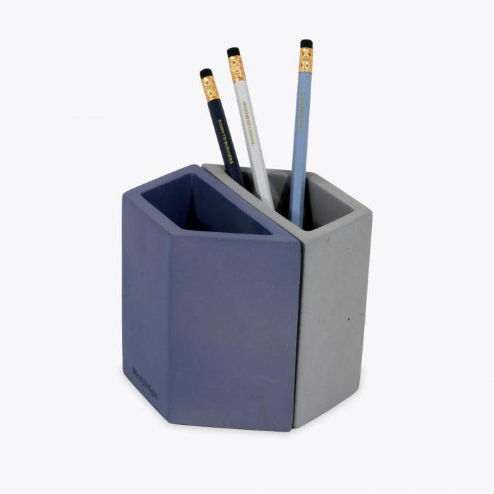 Blue concrete pencil holder
