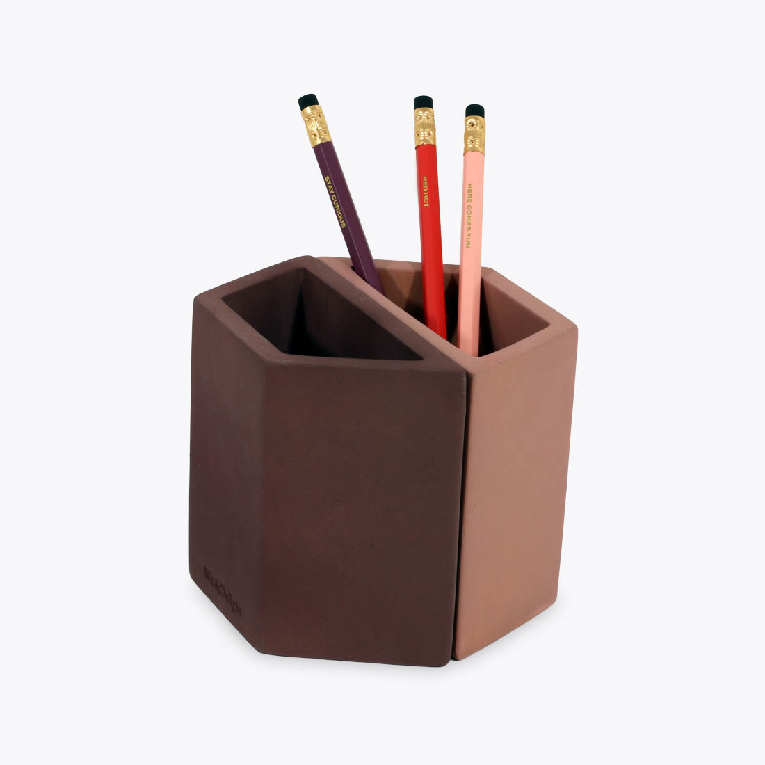 Pink concrete pencil holder